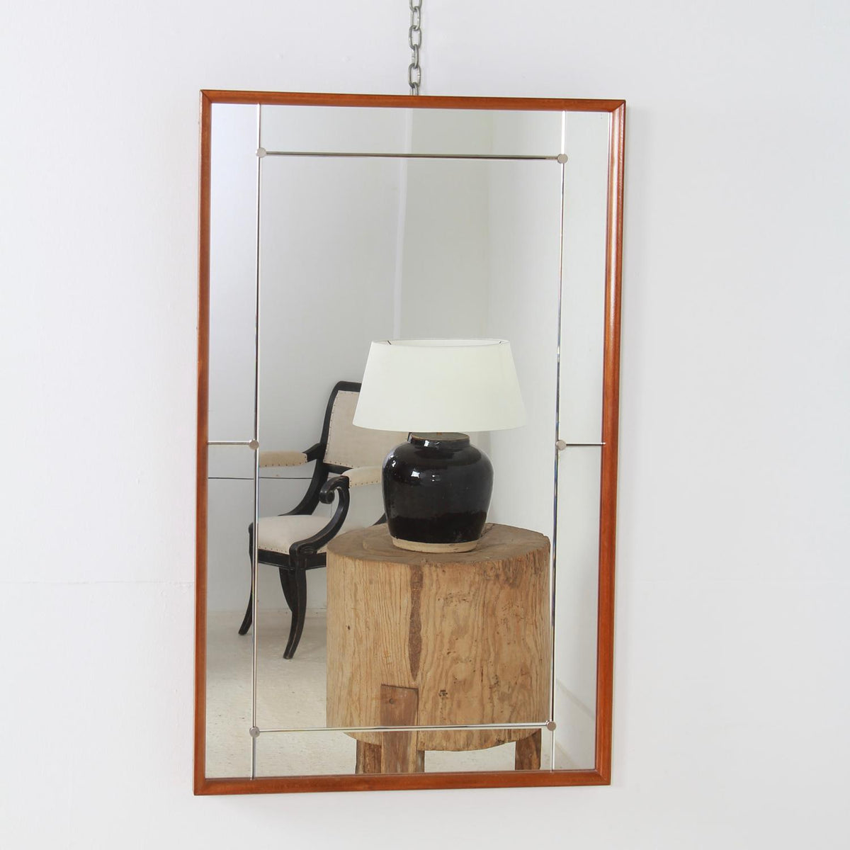 Mid-20th Century Scandinavian Chrome Stud Wall Mirror