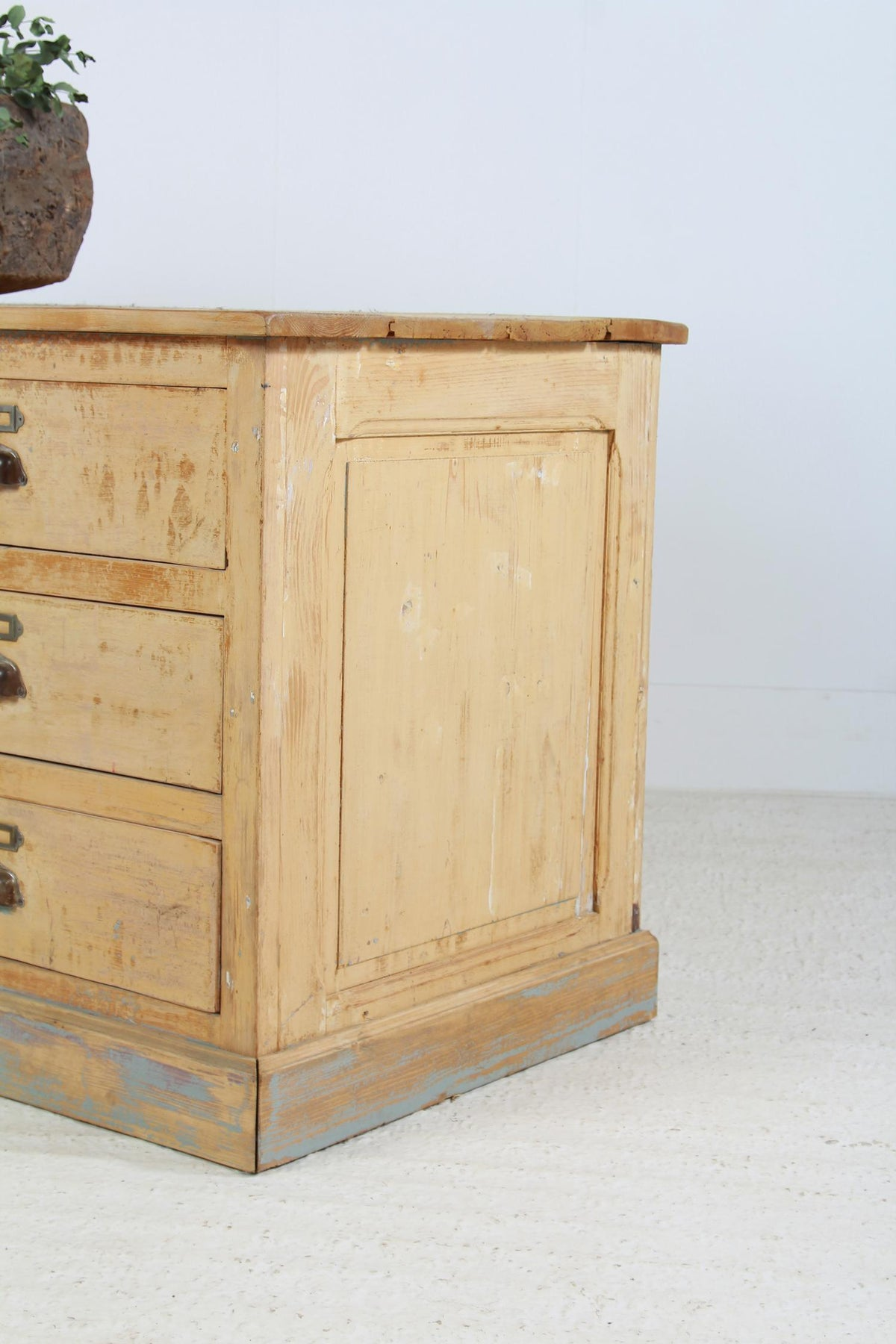 Fabulous French 19thC Original Painted  Bank Of Apothecary Drawers