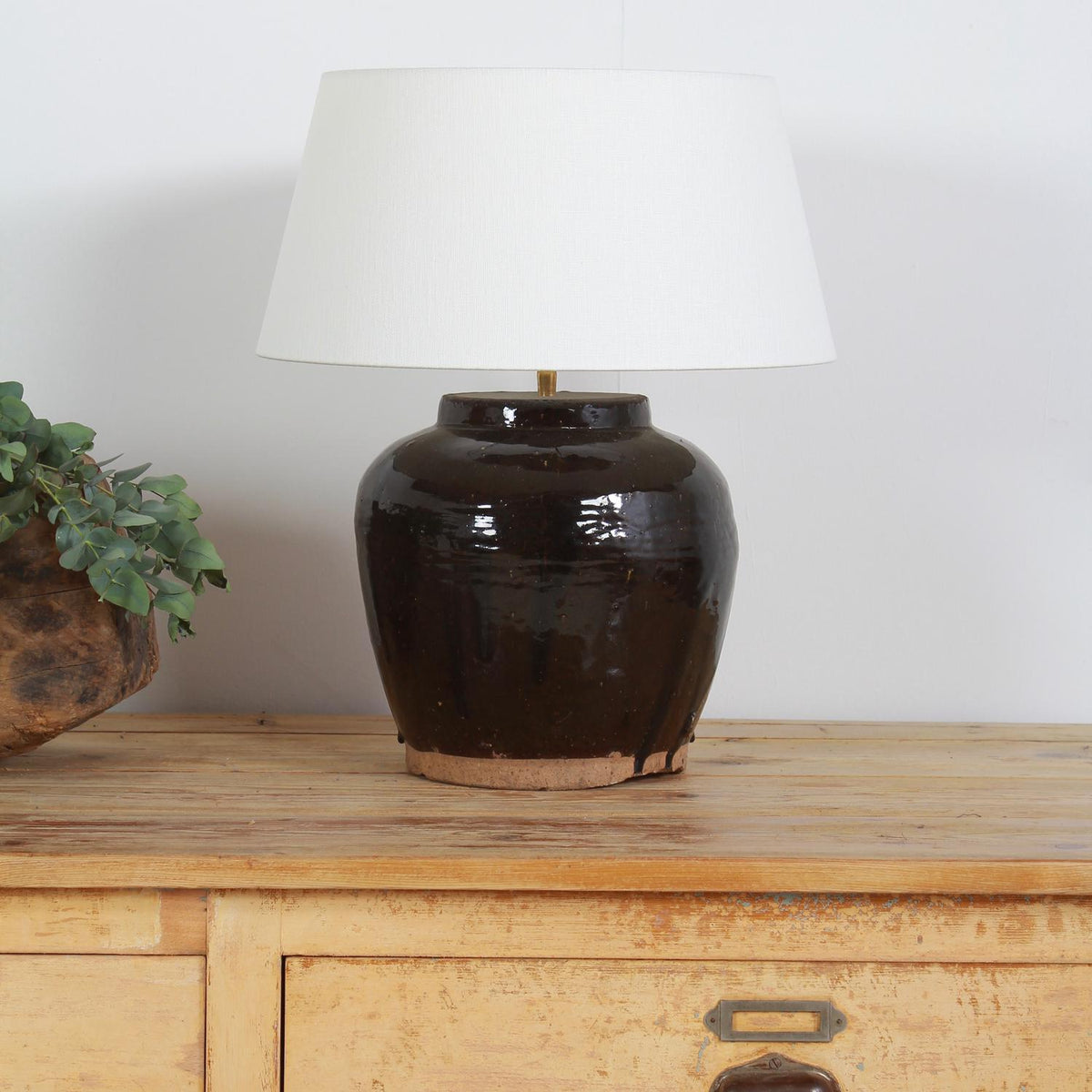 Unique Antique Chinese Storage Jar Lamp & Shade