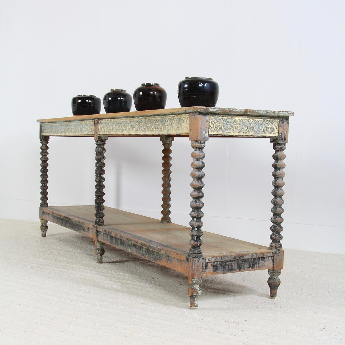 French Late 19thC Original Painted Drapers Table
