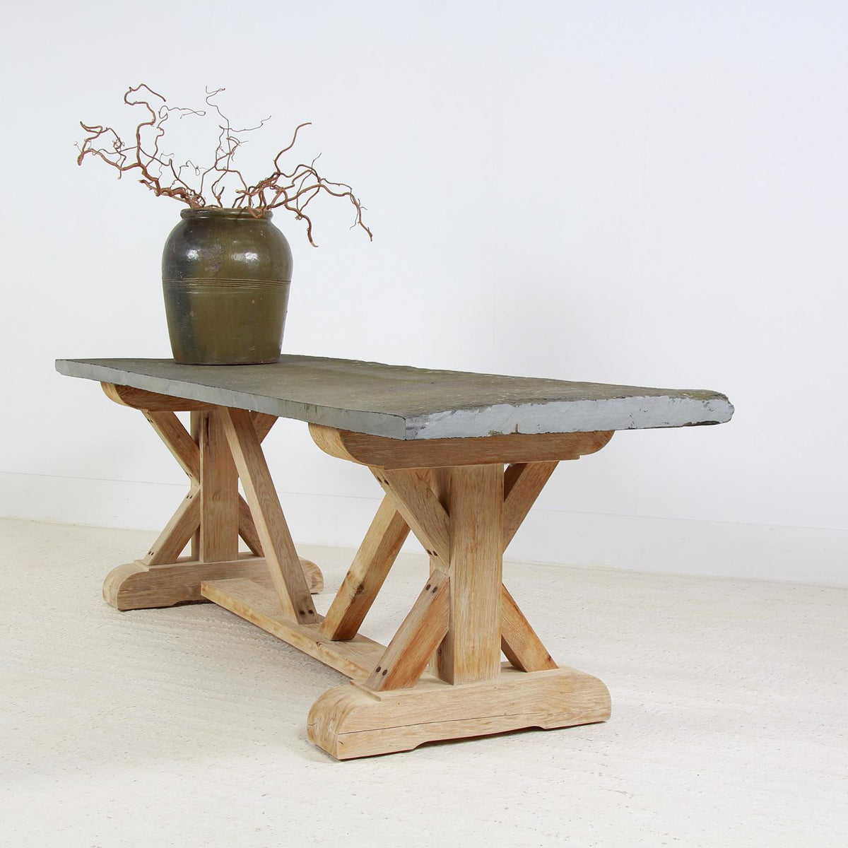OUTSTANDING BELGIAN OAK & SLATE X FRAME GARDEN DINING TABLE