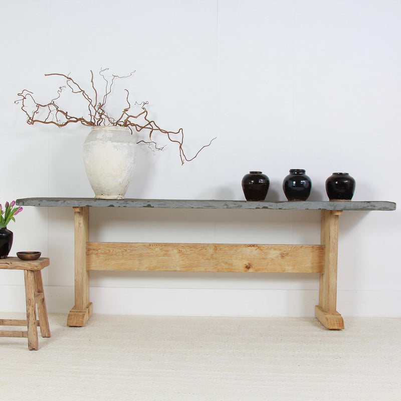 Impressive Oak & Slate Console Table