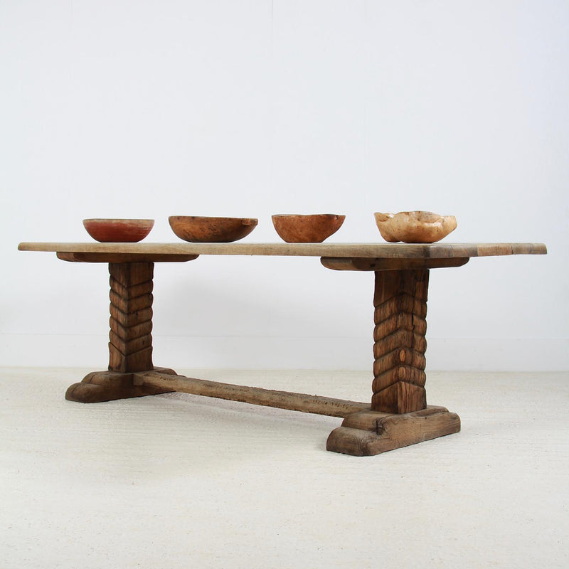 Stunning French Primitive Oak Wabi Sabi Trestle Table