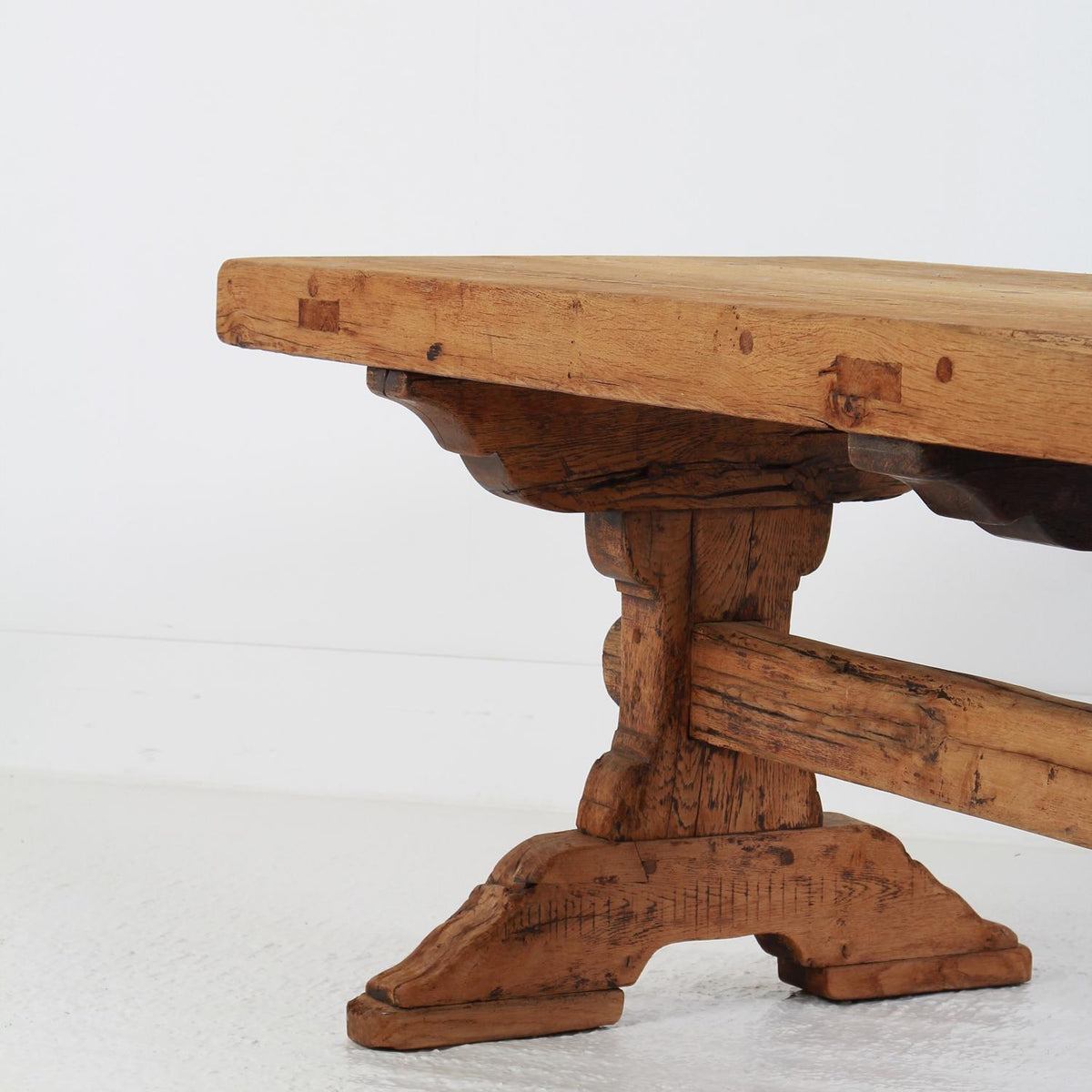 Exceptional French 19thC Country Trestle Oak Dining Table