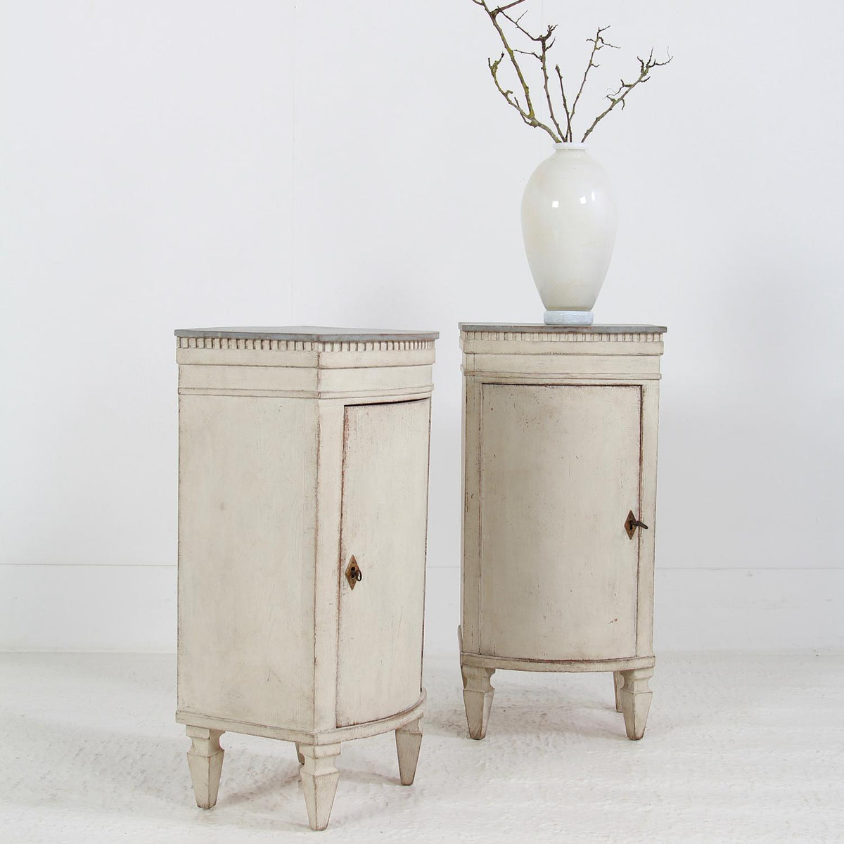 Pair of Swedish Gustavian Style Painted Bedside Cabinets
