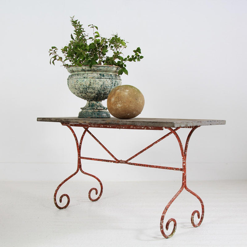 Wrought Iron & Belgium Blue Stone Garden Table