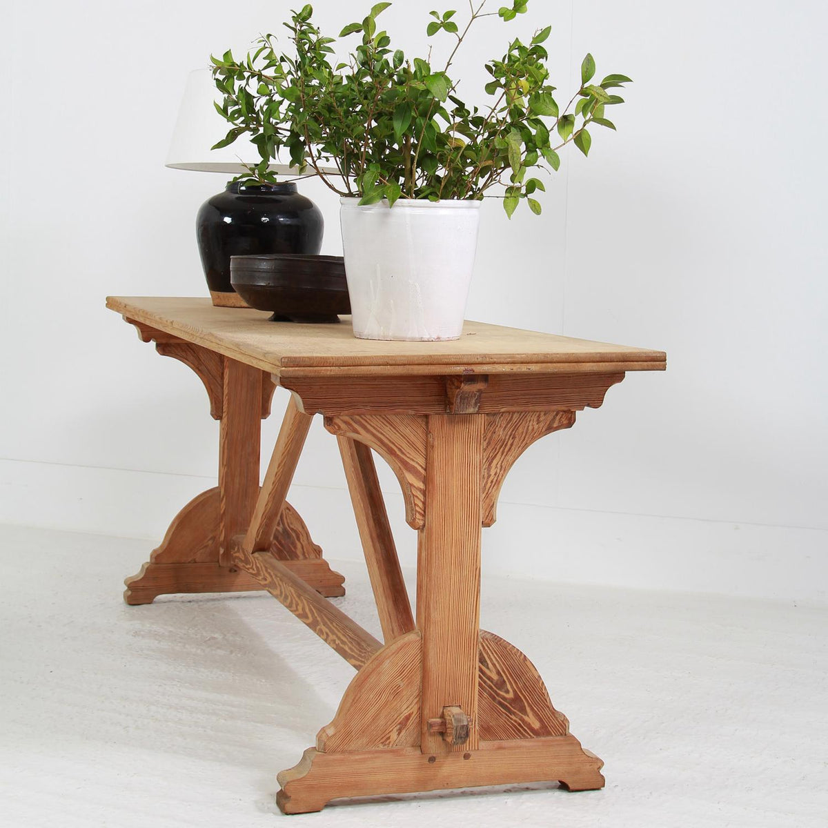 Charming Pair of French Bleached Oak Trestle Console Tables