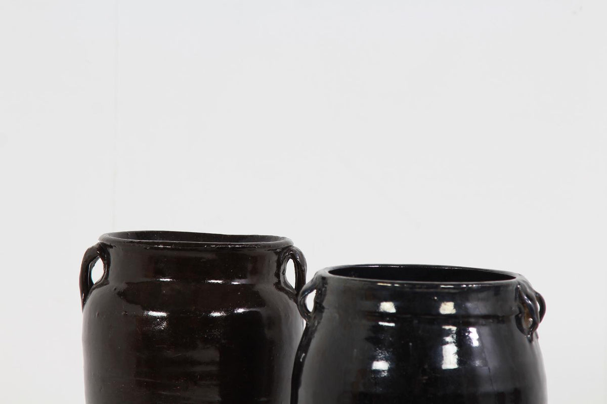 Collection of Two  Handmade Chinese  Black Glazed Pottery Jars