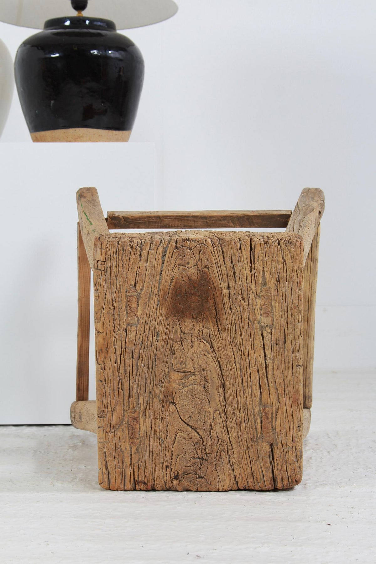 Rustic Primitive Wabi Sabi Country Elm Lamp/Side Table