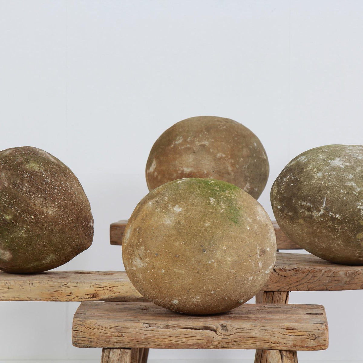 Set of Four Ancient French Architectural Carved Stone Balls