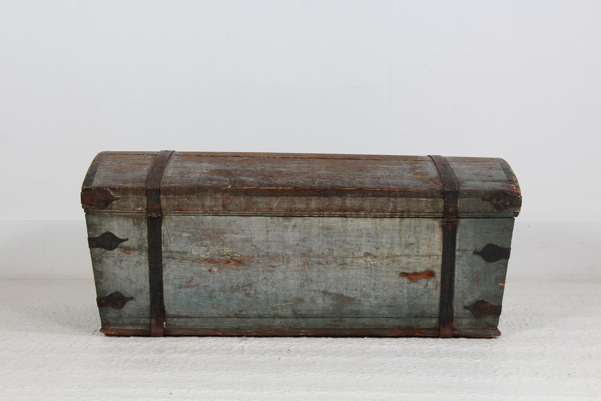 Swedish 19thC  Folk Art Blue Painted Wedding Chest