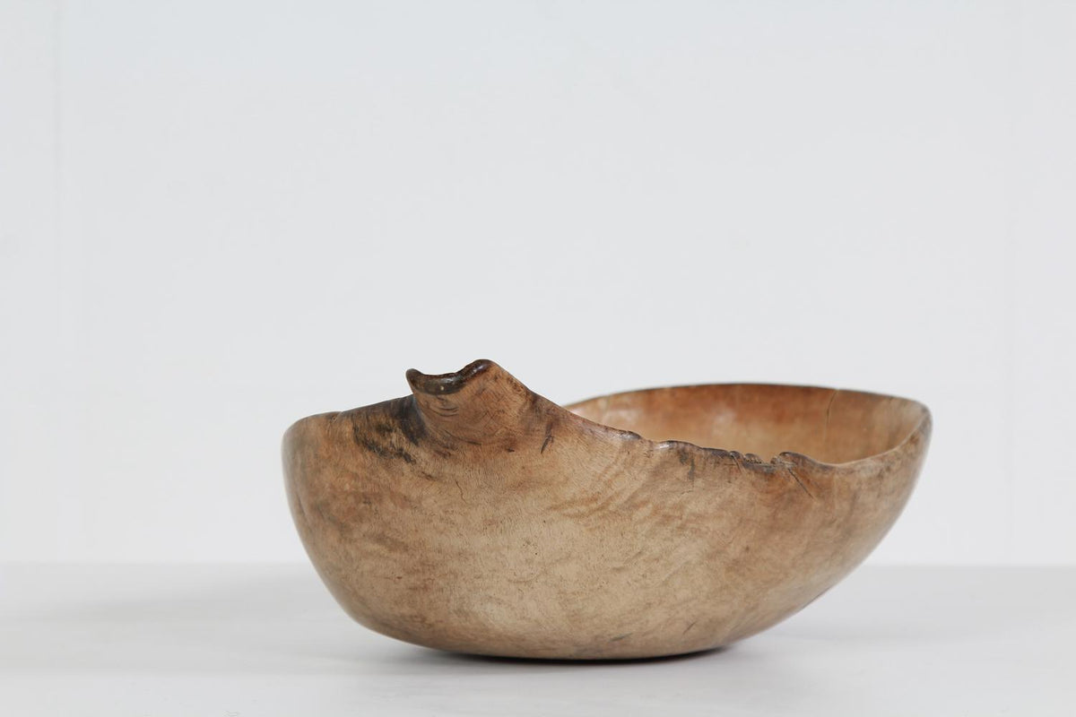 A Very Rare Swedish Organic 19thC Spouted Root Bowl