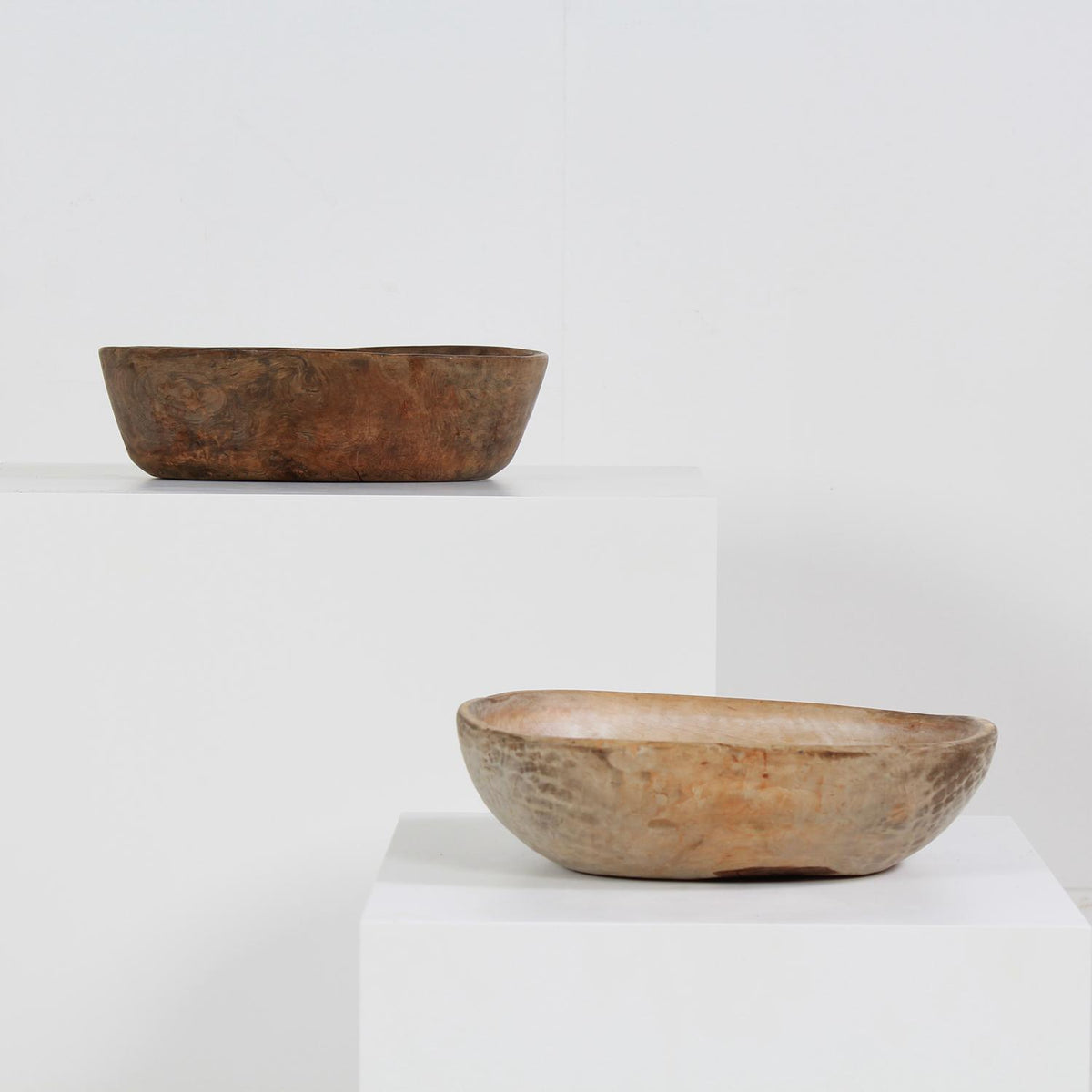 Collection of Two Early 19thC  Dug Out  Primitive Swedish Root Bowls