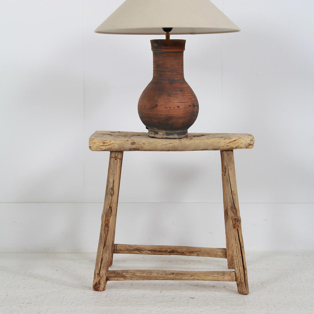 Primitive & Gnarly Elm Lamp/Side Table