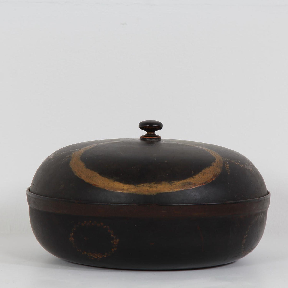 Decorative Early 20thC Papier Mâche Ebonised  Box with Lid