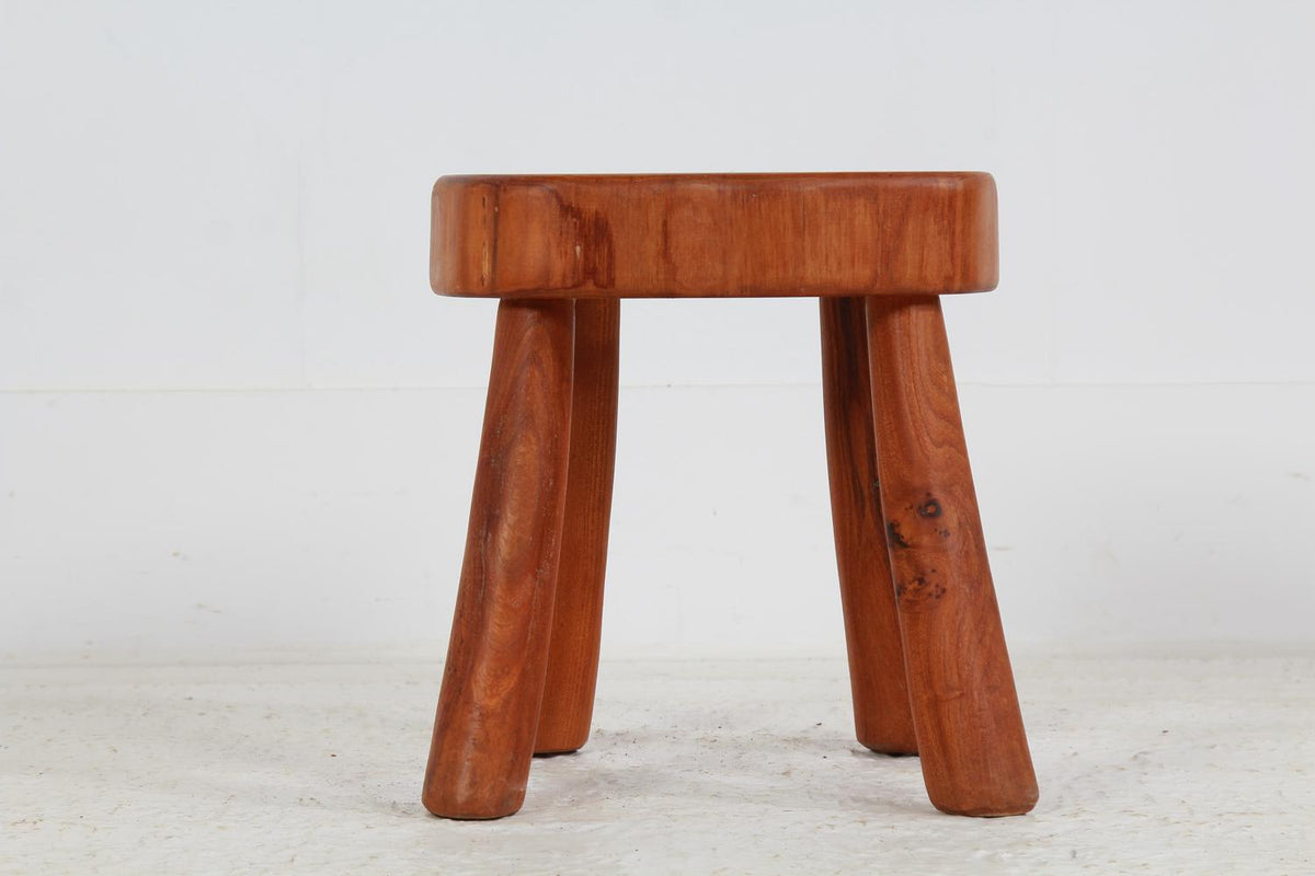 Two Mid-Century Modern Wood Stools in the Style of Charlotte Perriand