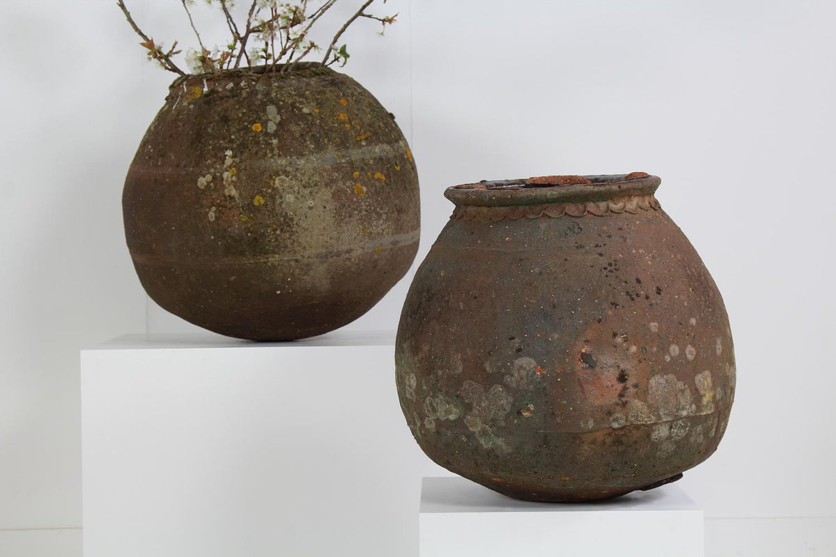 Beautiful Weathered Earthenware  French Salting  Pots