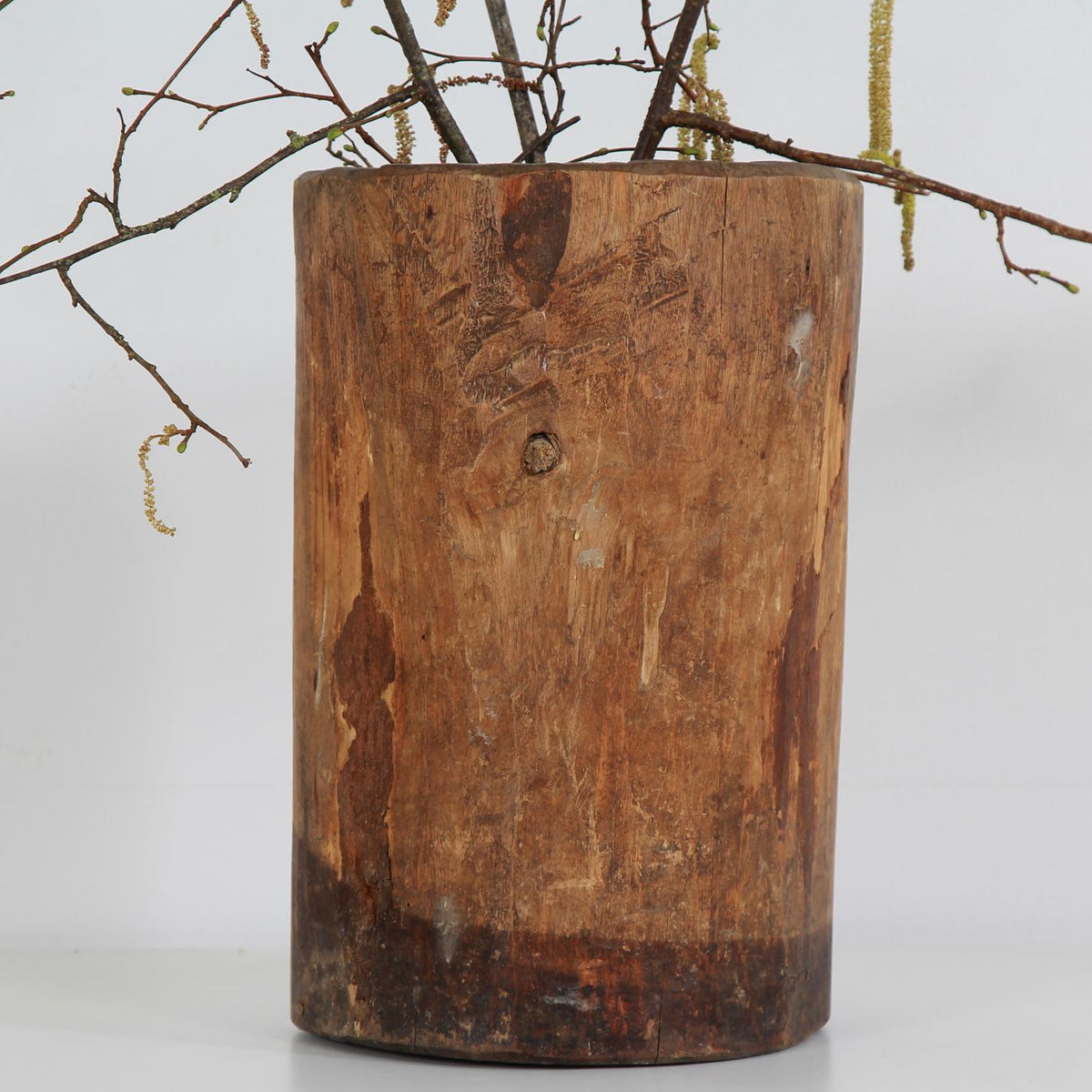 Rustic Antique Wooden Dug Out Mortar Planter