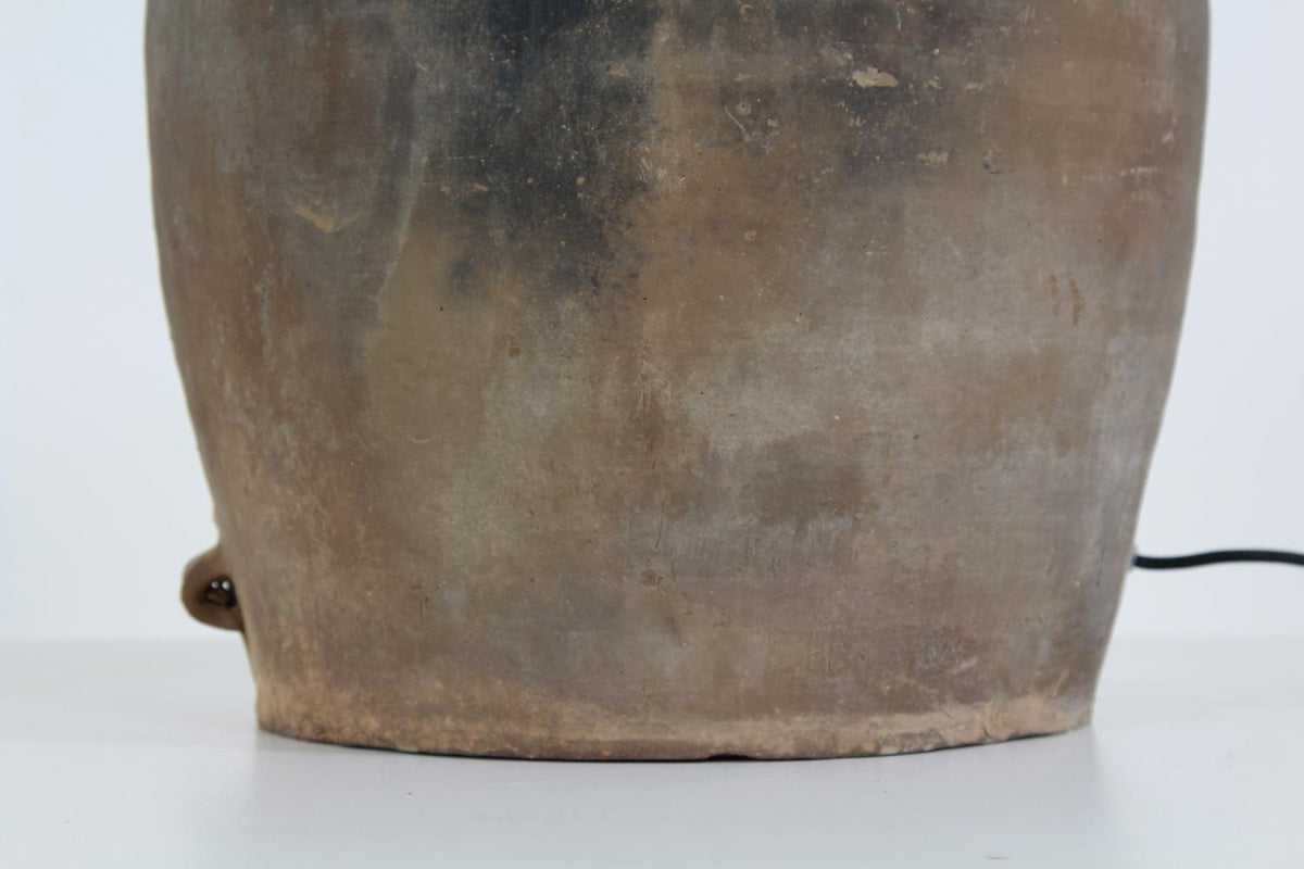 Large Unglazed Old Chinese Rural Pottery Lamp and Shade