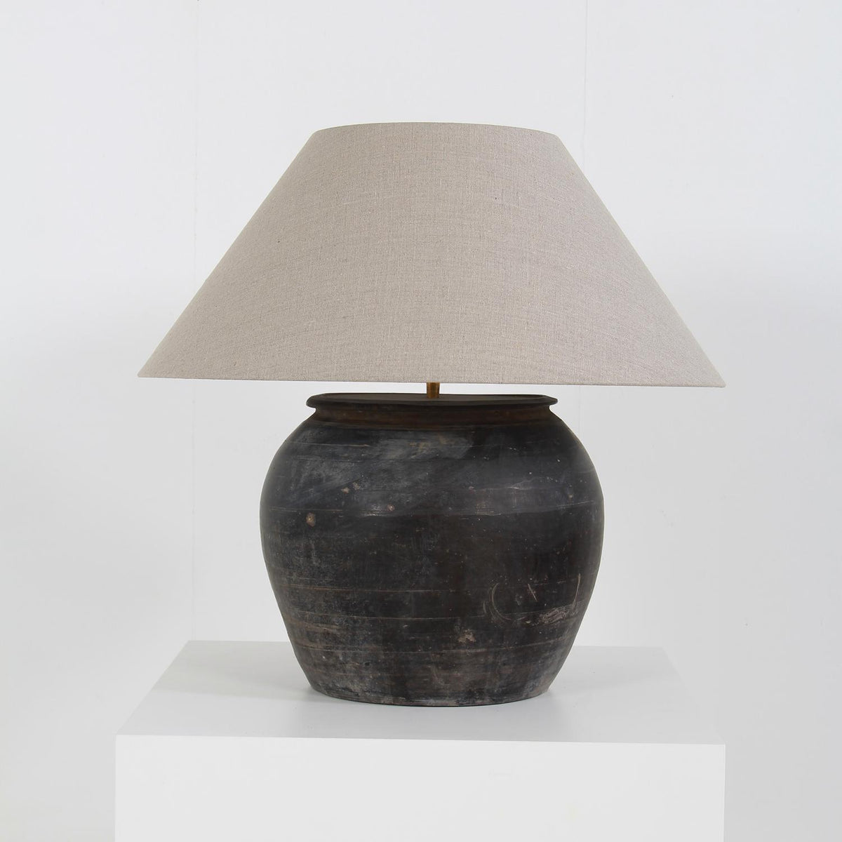 Chinese Storage Jar Lamp with Natural  Linen Shade