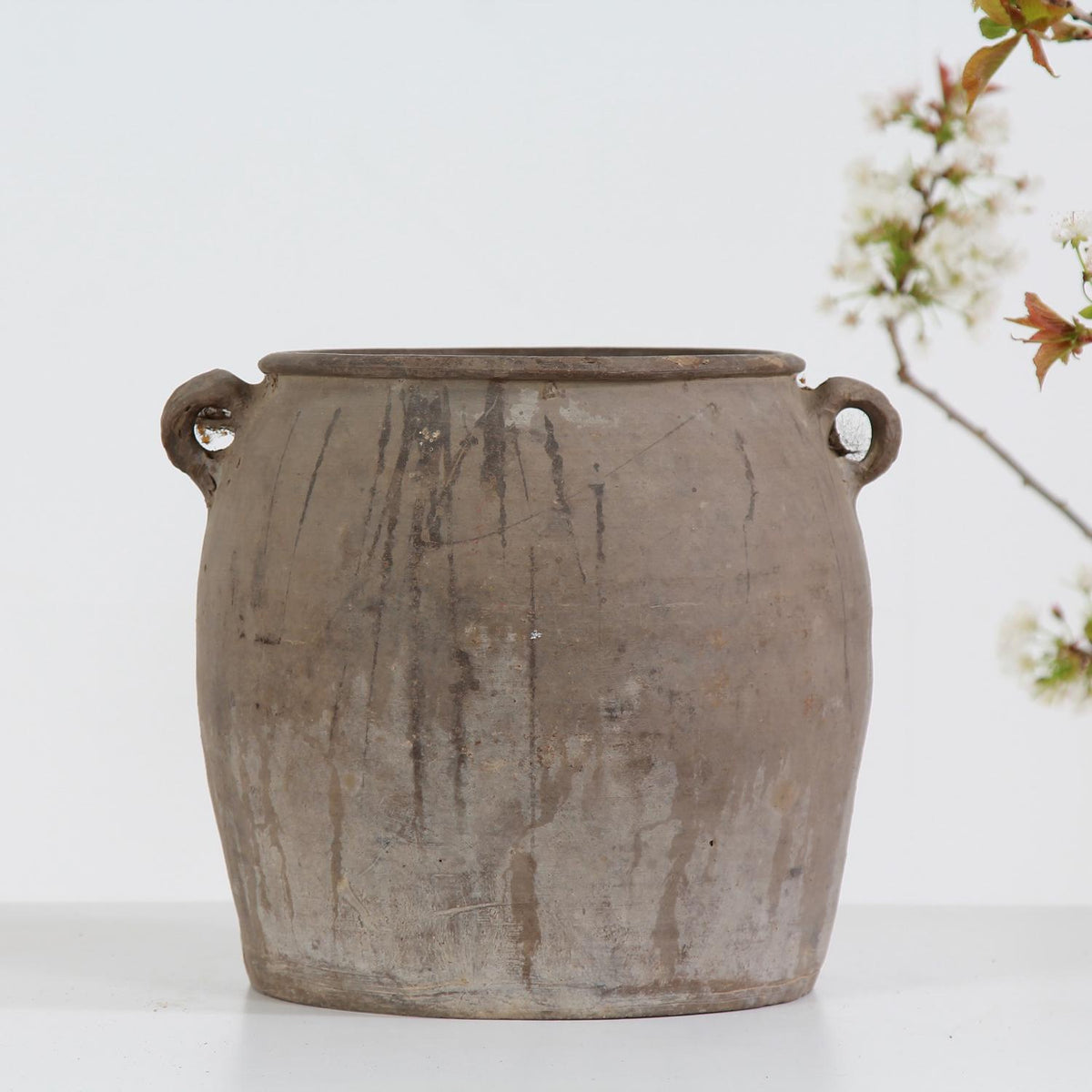 Unglazed Hand Crafted Chinese Storage Jar with Handles