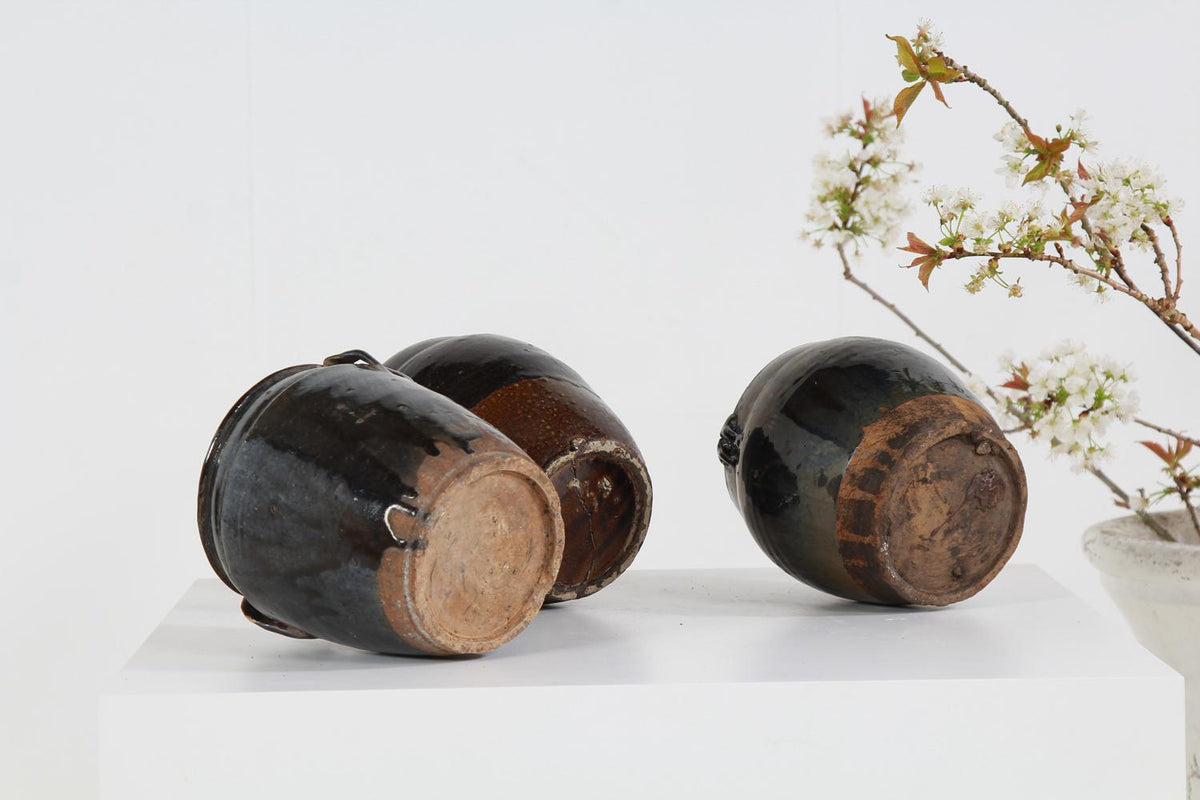 Collection of Three Handmade Chinese  Black Glazed Pottery Jars
