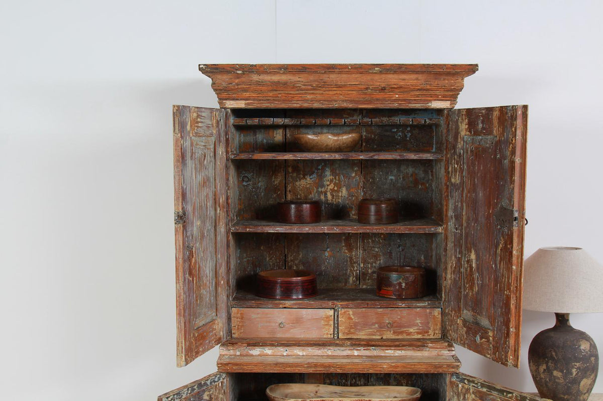 Stunning Swedish Baroque 18thC Cabinet Scraped to Original Paint