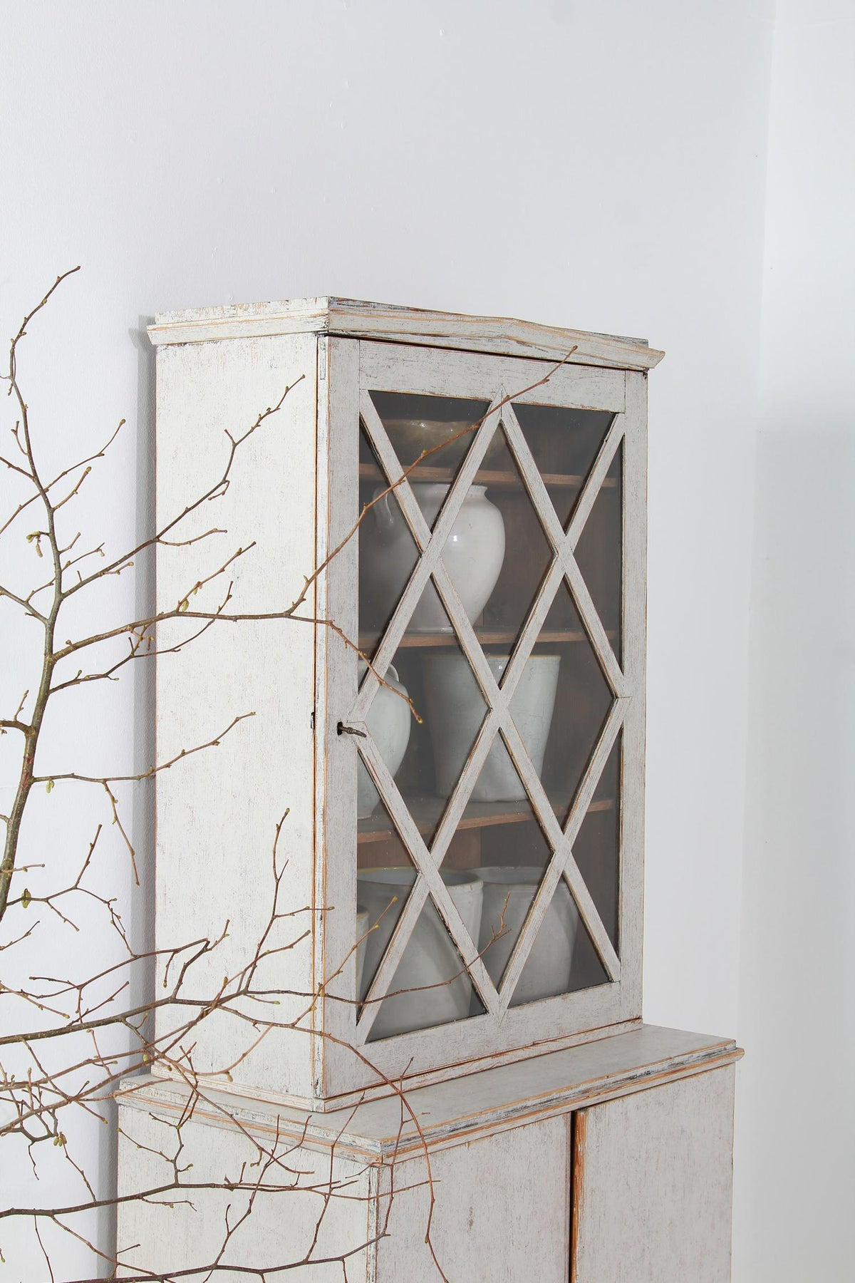 A Charming Period Swedish Gustavian Glazed Bookcase