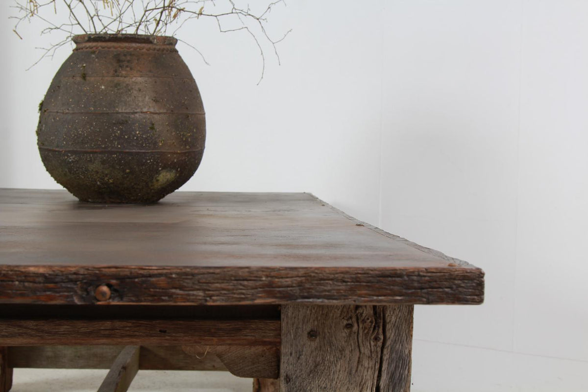 Exceptional Huge Gnarly Oak and Iron Veneer Top Table