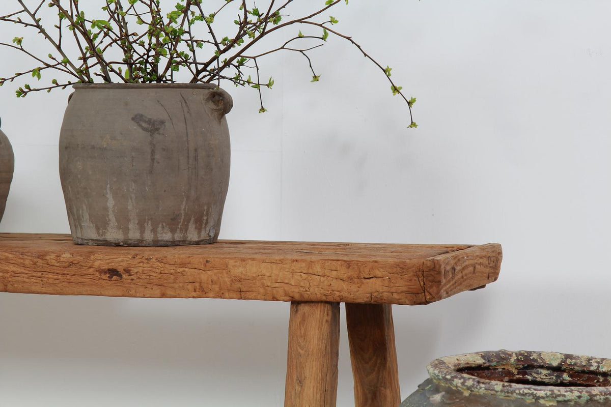 Charming Provincial Rustic Elm Console Table