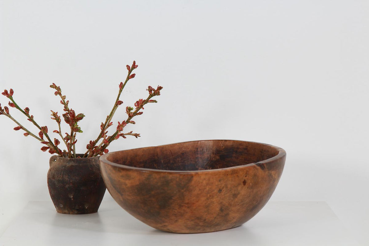Scandinavian Early 19th Century Dug Out  Root Bowl
