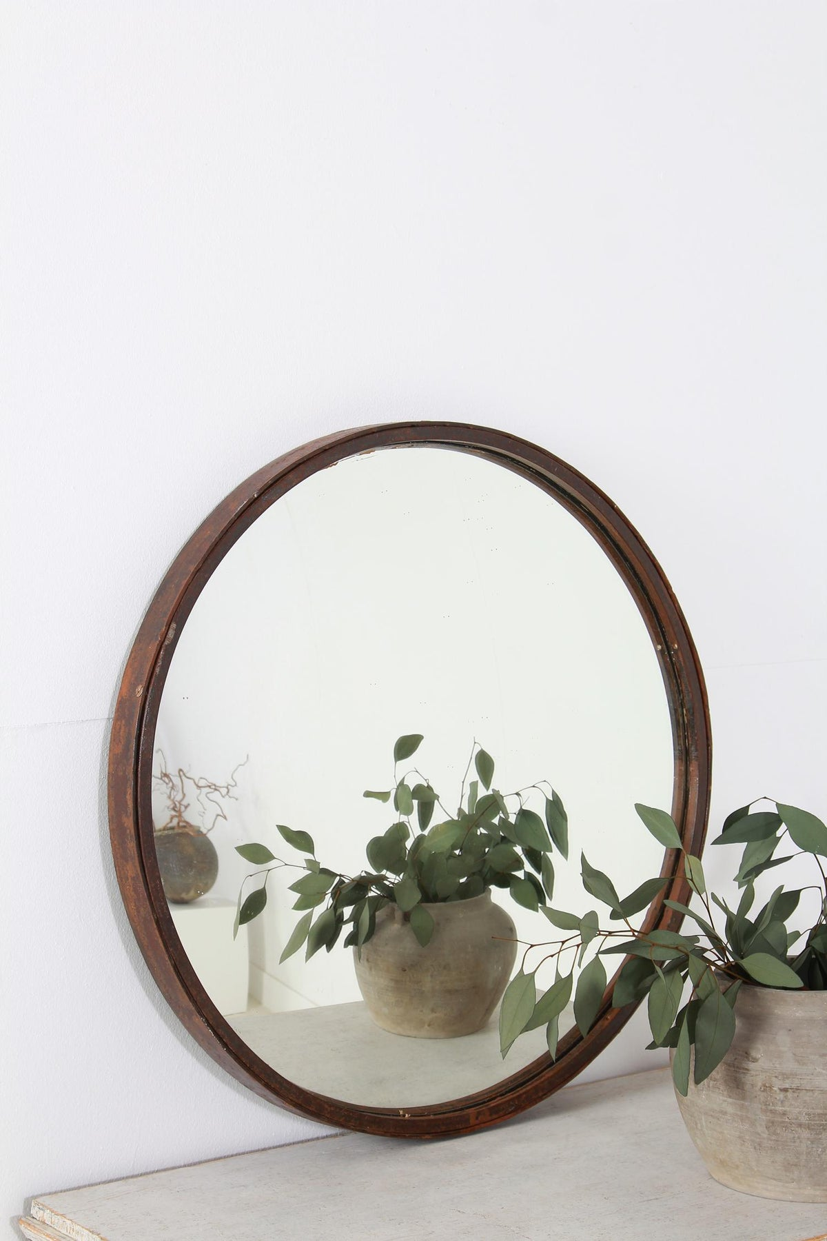 Stylish Industrial Metal  French 20thC Convex Mirror
