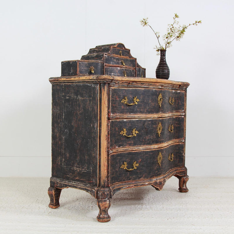 Exceptional Swedish Serpentine 18thC Rococo Secretaire  Commode