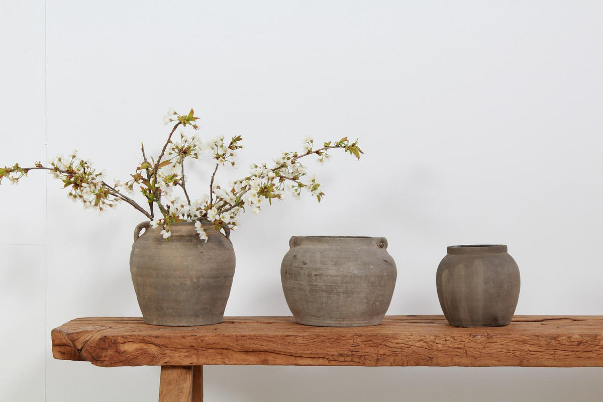 Collection of Three Unglazed Hand Crafted Chinese Storage Jars