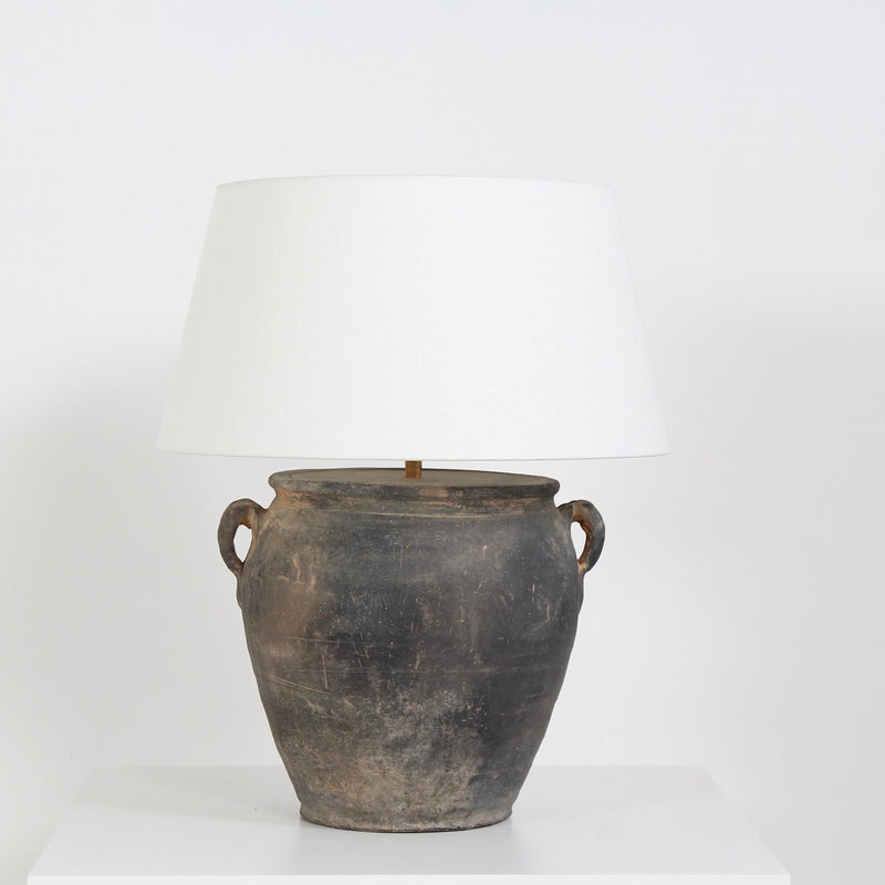 Chinese Storage Jar Converted Lamp with Natural Linen Shade