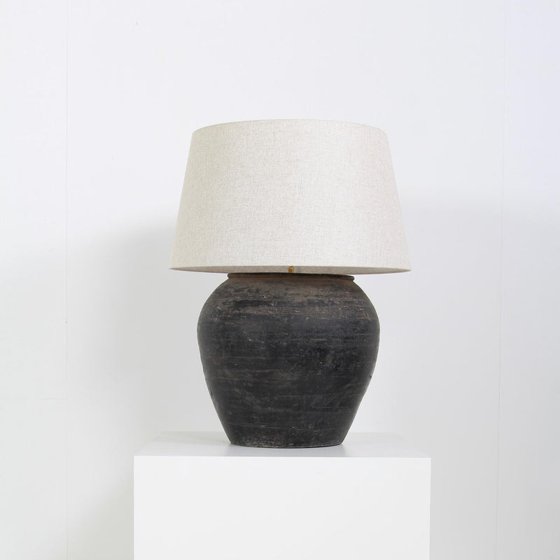 Large Chinese Storage Jar Converted Lamp with Natural Linen Shade