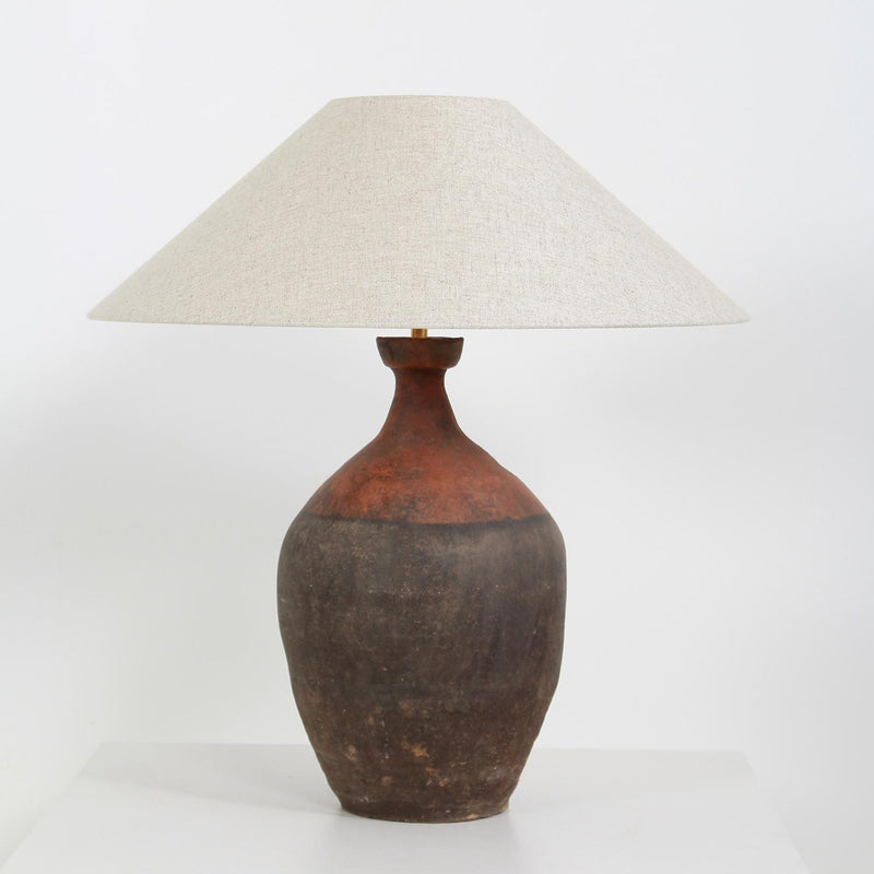 AUTHENTIC UNGLAZED  TERRACOTTA  JAR VASE LAMP WITH SHADE