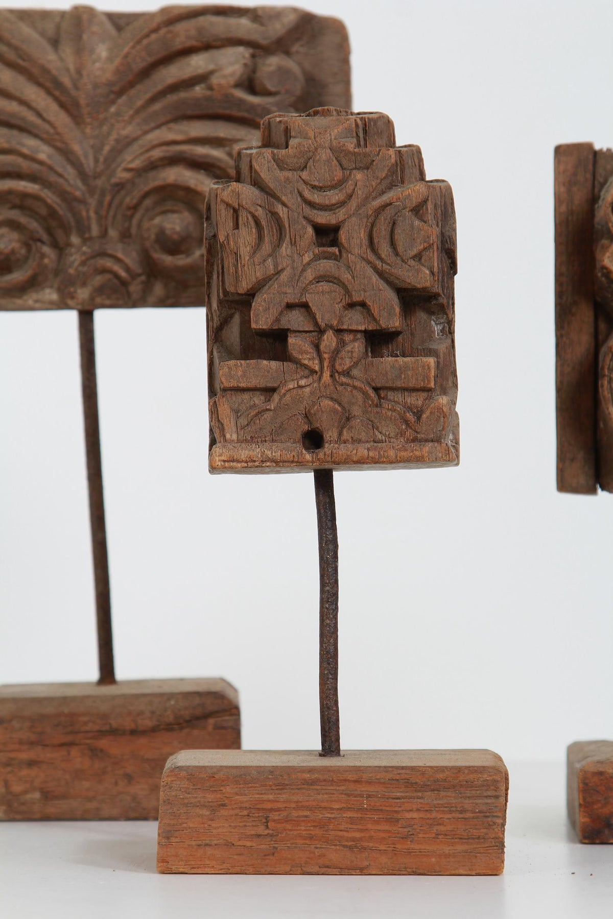 THREE BEAUTIFULLY CARVED WOOD  19THC TEMPLE FRAGMENTS