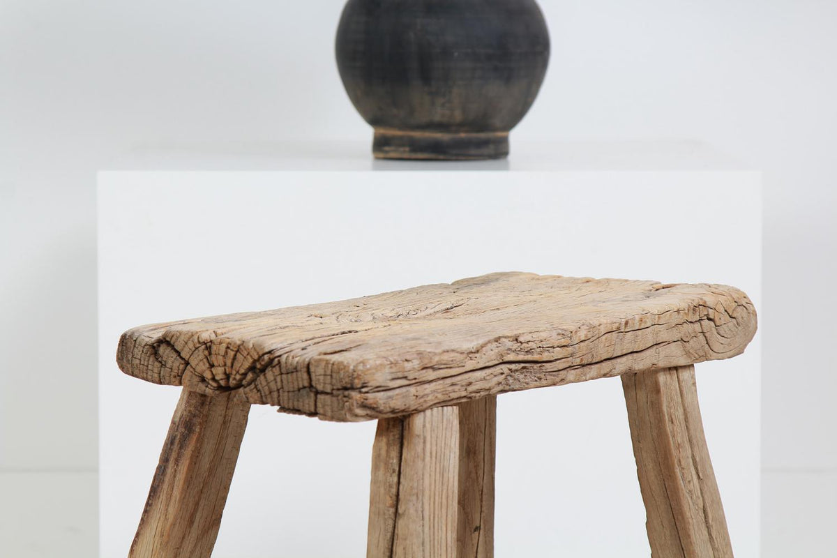 Rustic and Gnarly Weathered  Elm Stool