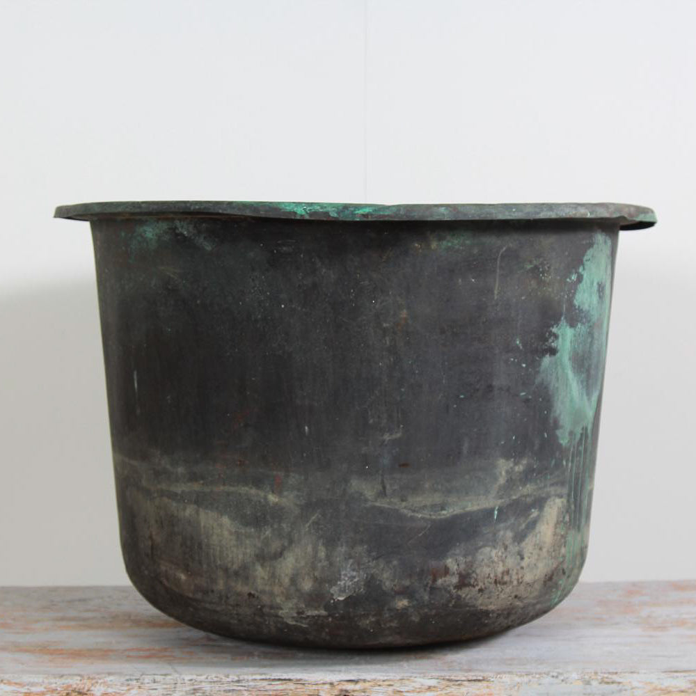English 20thC English Weathered Verdigris Copper Planter