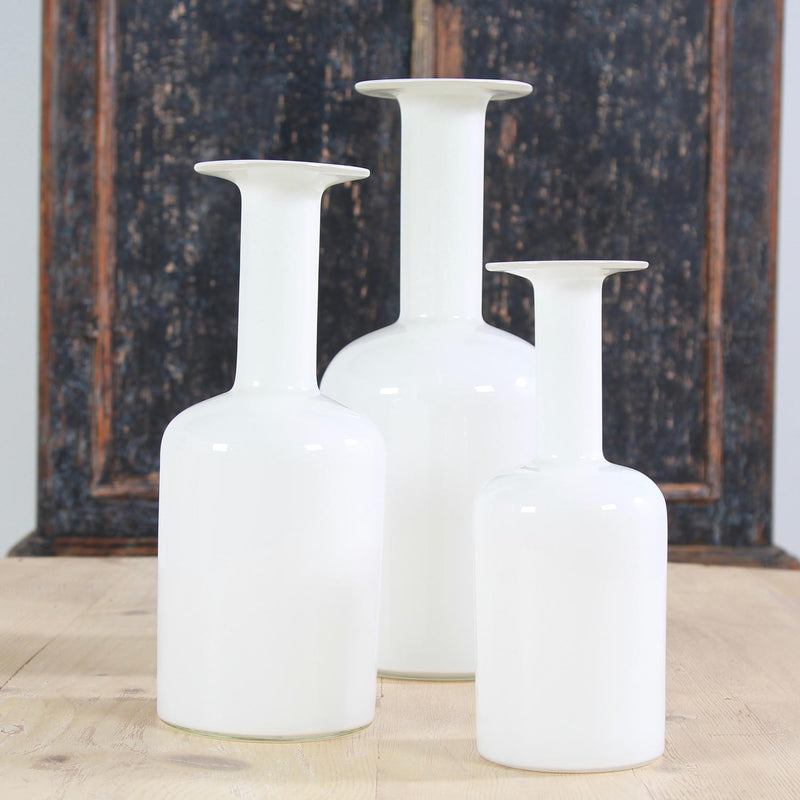 Beautiful Group of Three White  Danish Gulvases Designed by Otto Brauer