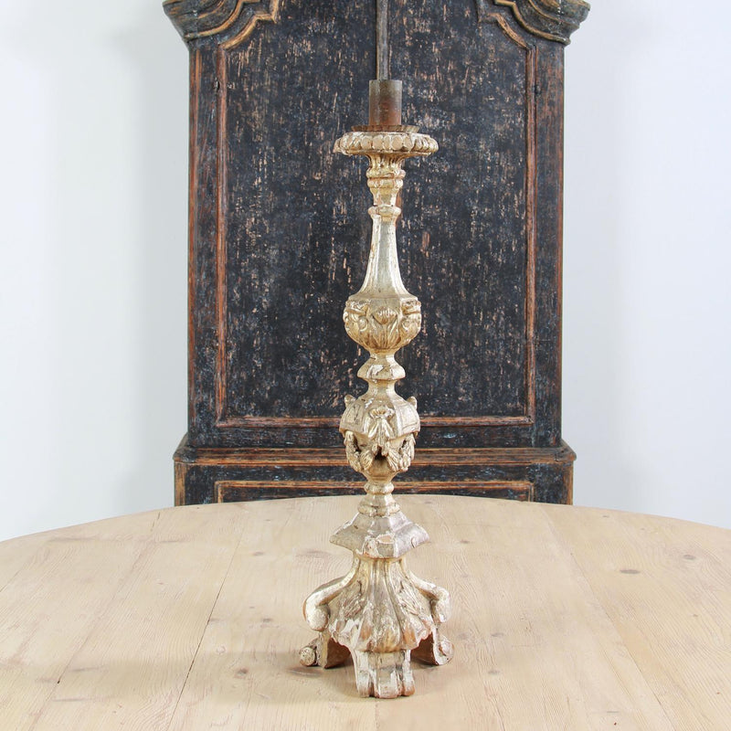 A Dramatic  Italian 18thC Silver Leafed Carved Candlestick