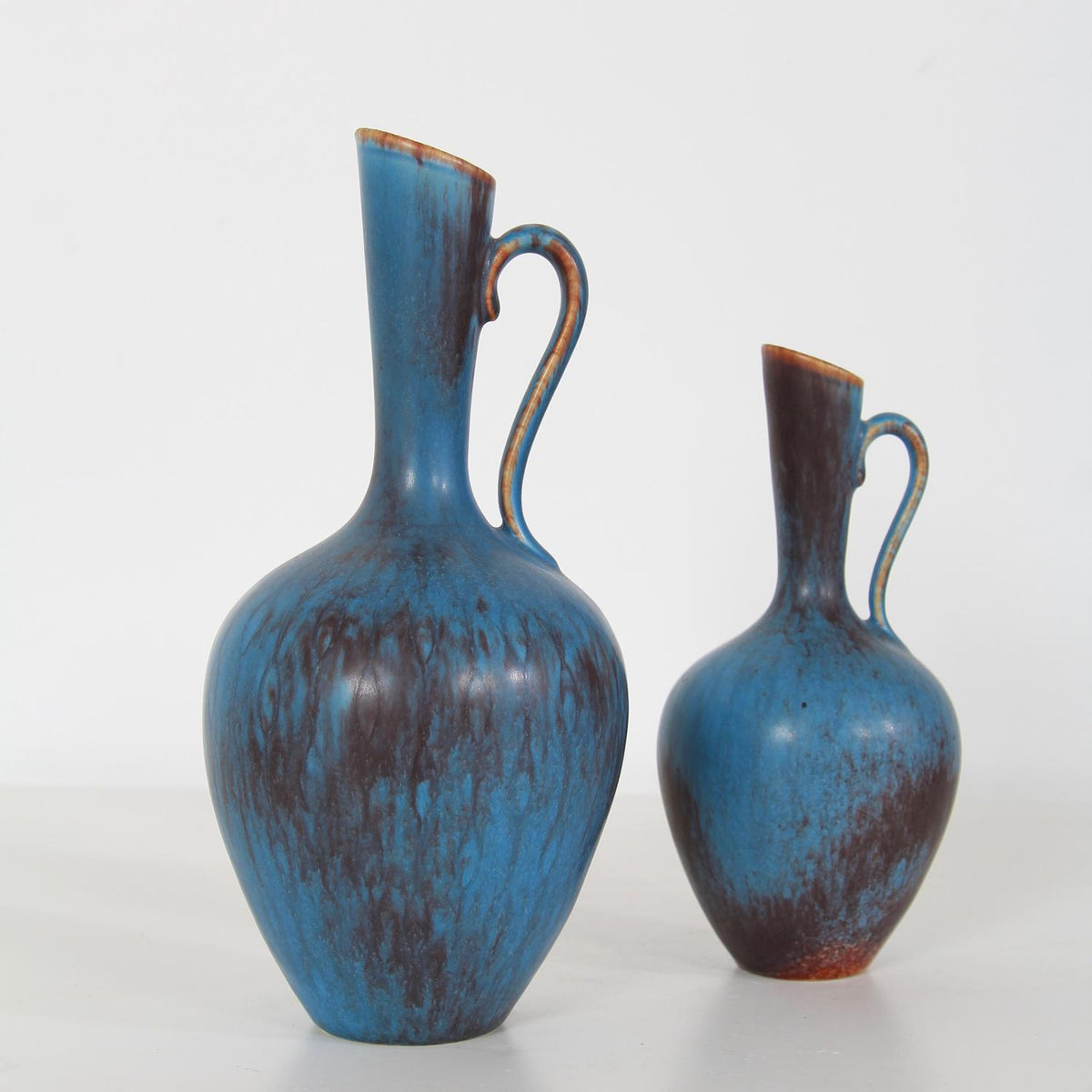 Collection of Two Gunnar Nylund Ceramic Powder Blue Jugs