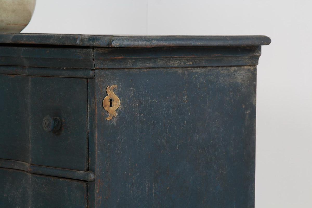 Danish 19thC  Three-Drawer Painted Commode with Serpentine Front