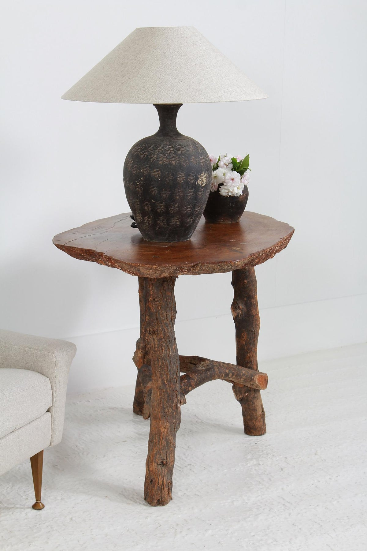 Unique French 19thC  Olive Wood Top Lamp Table