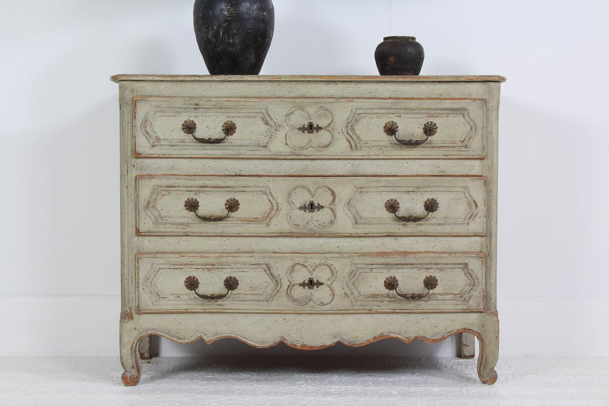 Classic French 19th Bow Fronted Commode with Time Worn Patina