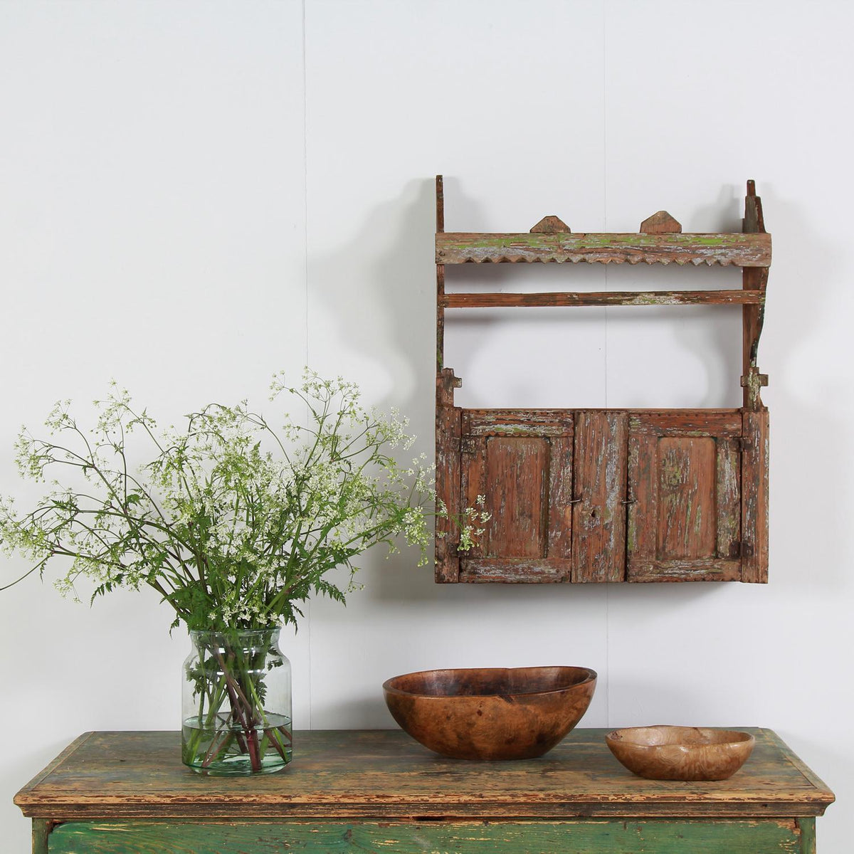 Rustic Country Hutsul Spice Shelf with Original Paint