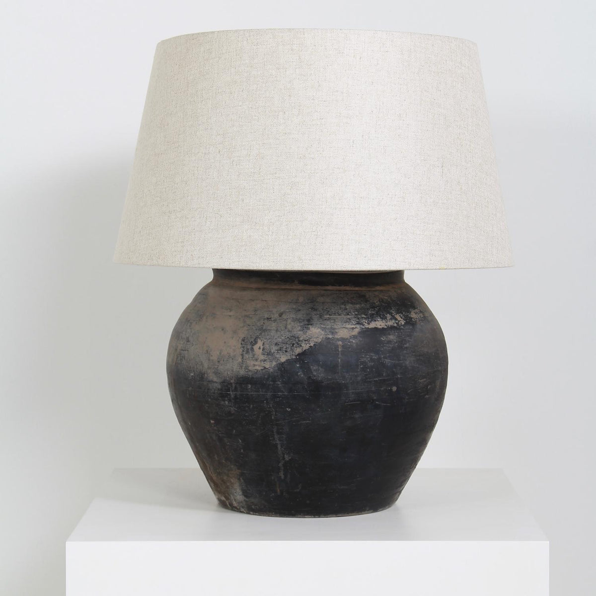 Voluptuous   CHINESE STORAGE JAR CONVERTED LAMP WITH NATURAL LINEN SHADE