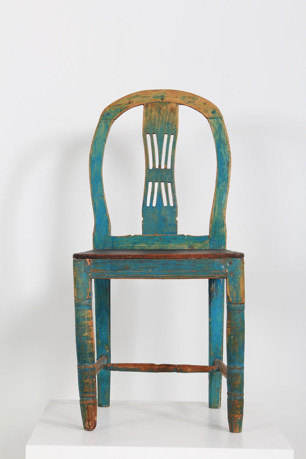 Simple Swedish Country Side/Display Chair in Original Blue Patina
