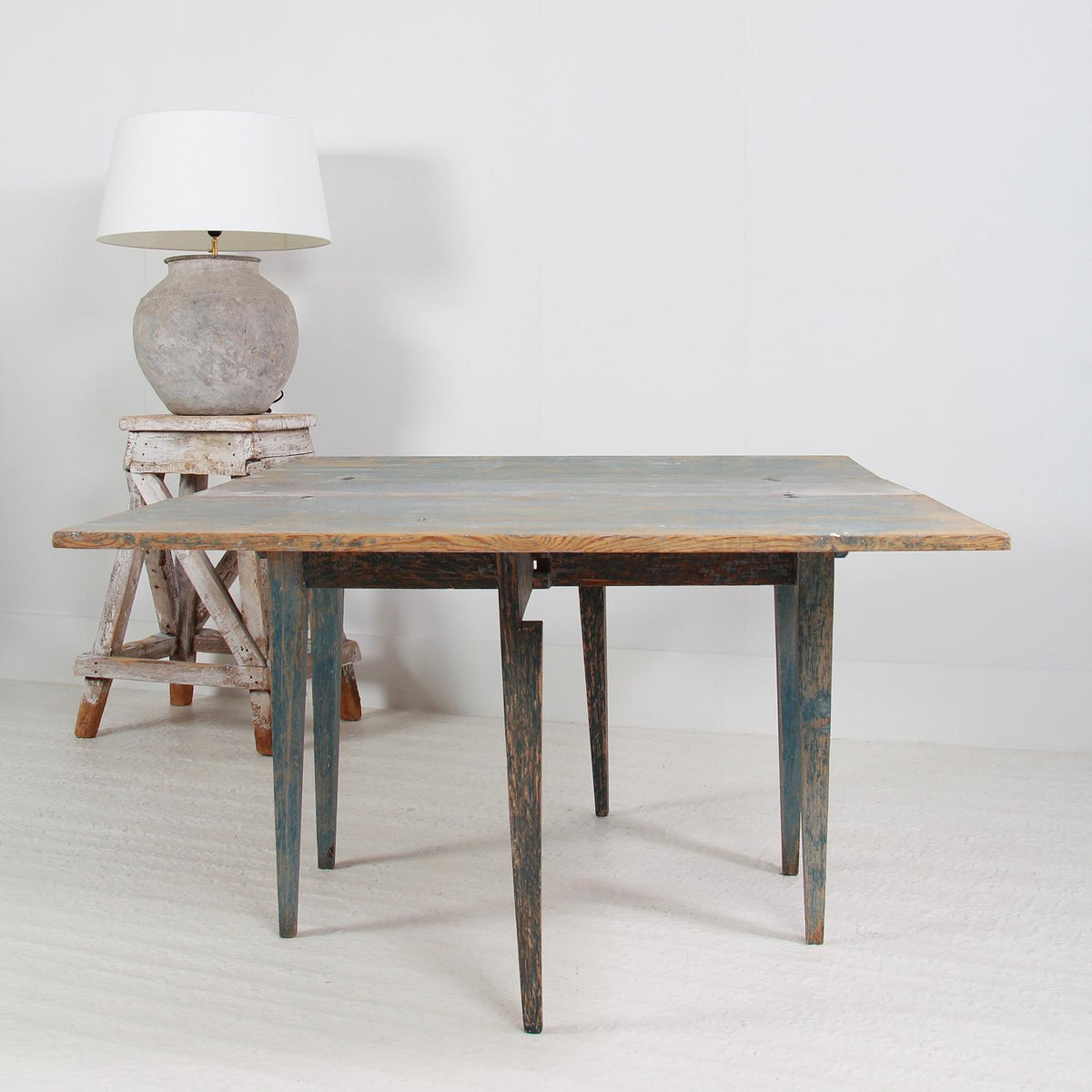 Swedish 19thC Painted Gateleg Drop-Leaf Table with Original Blue Patina